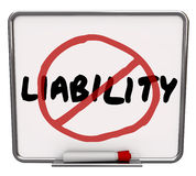 No Liability Reduce Risk Mitigation Danger Prevention. Liability word and no symbol in red marker drawn over it to illustrate risk mitigation, prevention and Royalty Free Stock Photo