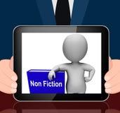 No libro de la ficción y texto o hecho educativo de las exhibiciones de carácter stock de ilustración