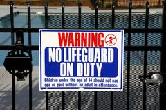 No Lifeguard. Warning sign that no life guard is on duty Royalty Free Stock Photography