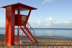 No Lifeguard on duty. Life guard stand at sunrise on the beach Royalty Free Stock Photos