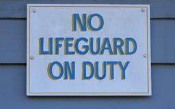 No Lifeguard on Duty stock photos