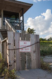 No Lifeguard on Duty. Chained Closed Entry to Lifeguard Station Stock Images