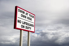 No Lifeguard On Duty Sign Stock Photography