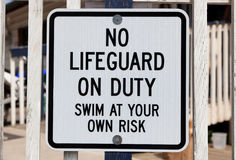 Free No Lifeguard On Duty Sign Stock Images - 26661544