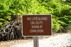 No Lifeguard On Duty Sign Royalty Free Stock Photography