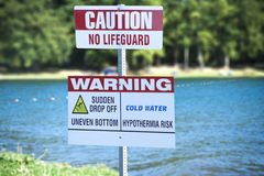 No Lifeguard Sign Stock Photos