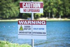 No Lifeguard Sign Stock Photos