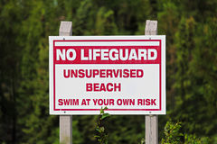 A no lifeguard unsupervised beach use at own risk sign stock photo