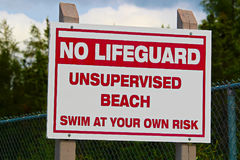 A no lifeguard unsupervised beach use at own risk sign stock photography