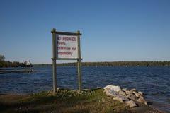 No Lifeguards Sign Stock Image