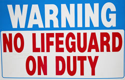 No Lifequard on duty Royalty Free Stock Photos
