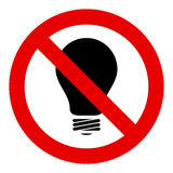 No light bulb sign Royalty Free Stock Image
