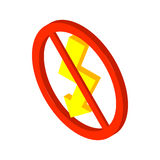 No lightning icon, isometric 3d style Stock Images