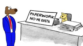 No Like Paperwork. Business cartoon about a sign on the worker's desk that he does not like paperwork Royalty Free Stock Image