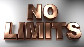 NO LIMITS in copper 3D letters. The write `NO LIMITS` written with copper 3D letters on a white surface - 3D rendering Stock Photo