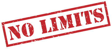 No limits red stamp. Isolated on white background Royalty Free Stock Photo