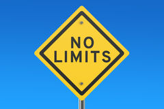 No limits road sign. On blue sky Stock Photography
