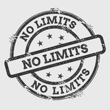No limits rubber stamp  on white. No limits rubber stamp  on white background. Grunge round seal with text, ink texture and splatter and blots, vector Stock Photography