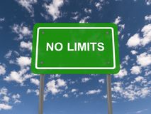 No limits sign. A traffic sign with the label no limits Royalty Free Stock Images