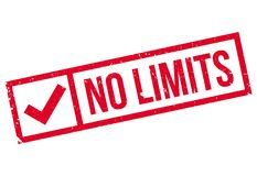 No limits stamp. Grunge design with dust scratches. Effects can be easily removed for a clean, crisp look. Color is easily changed Royalty Free Stock Images