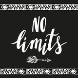 No limits.Vector handdrawn phrase with boho design elements Stock Photo