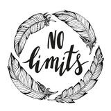 No limits.Vector handdrawn phrase with boho design elements Stock Images