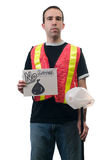 No Litter. Concept image of a garbage cleanup person holding a sign that says no litter Stock Photography