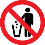 No litter sign. No litter allowed sign on a white background Royalty Free Stock Image