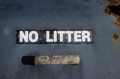 No litter sign. Close up detail of a weathered no litter sign Stock Photography