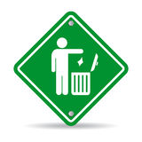 No littering green sign. No littering green rhombus sign Stock Photos