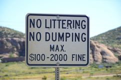 NO LITTERING NO DUMPING Stock Photos