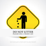 No littering poster. Vector illustration Stock Photos