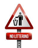 No littering road sign illustration design. Over white Royalty Free Stock Photo