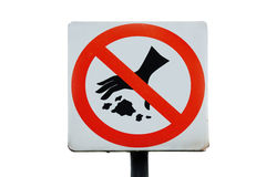 NO LITTERING. Shabby label on white background Stock Images