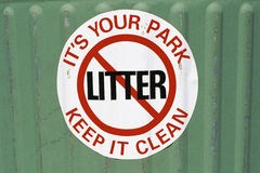 No littering sign. Close up of No littering sign Royalty Free Stock Photos
