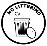 No littering sign. Garbage can with litter inside warning sign of no littering - vector Royalty Free Stock Image