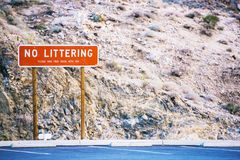 No Littering Sign. Please Take Your Trash With You. Keep the World Clean Royalty Free Stock Image