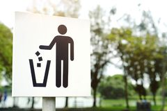 No littering sign in public park photo Stock Image