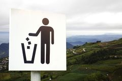 No littering sign in public park photo Stock Photos