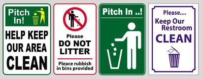 No Littering sign set. Illustrated set of four different rectangular vertical Do Not Litter signs Royalty Free Stock Photos