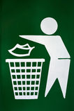 No littering sign of trashcan. No littering sign of green trashcan background Royalty Free Stock Photography