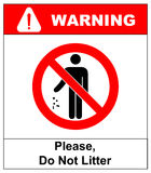 No littering sign vector illustration. Do not litter prohibition sticker for public places in red circle Royalty Free Stock Image