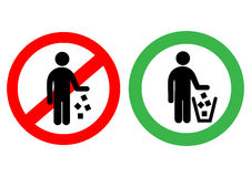 No littering sign in vector. Stock Illustration Royalty Free Stock Image