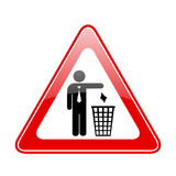 No littering sign. No littering warning triangular sign Royalty Free Stock Images