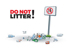 No Littering Sign and Waste. Vector illustration of littering near the No littering sign creating trash island. Place your text Stock Photos