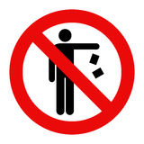 No littering sign. On white background Royalty Free Stock Photography