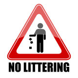 No littering triangle sign. Illustration Stock Photo