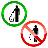 No littering triangle signs Stock Images