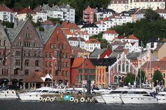 No local do patrimônio mundial do UNESCO, Bryggen Imagens de Stock Royalty Free