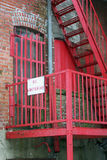 No Loitering. Sign on urban fire escape Stock Photo